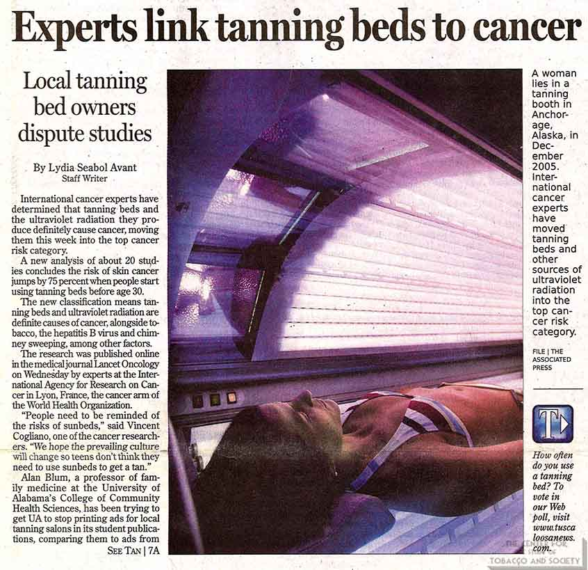 2009-07-30 - The Tuscaloosa News - Experts Link Tanning Beds To Cancer