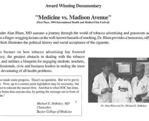 Award Winning Documentary Medicine Vs. Madison Avenue
