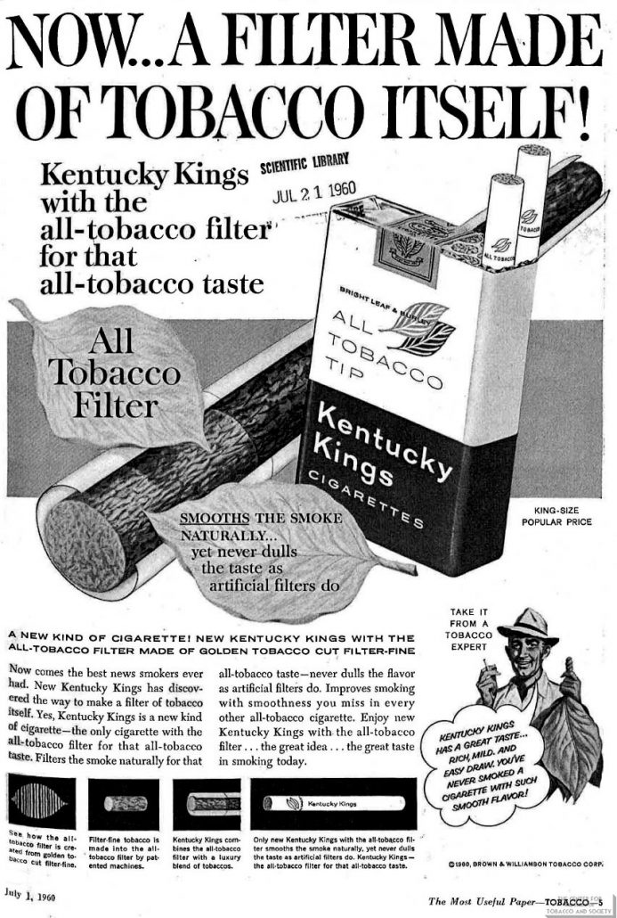 1960-07-04 - Tobacco - Brown & Williamson Kentucky Kings - Now a Filter Made of Tobacco Itself