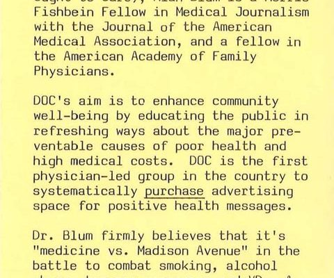 1980- Lecture Announcement with Info on AB & DOC