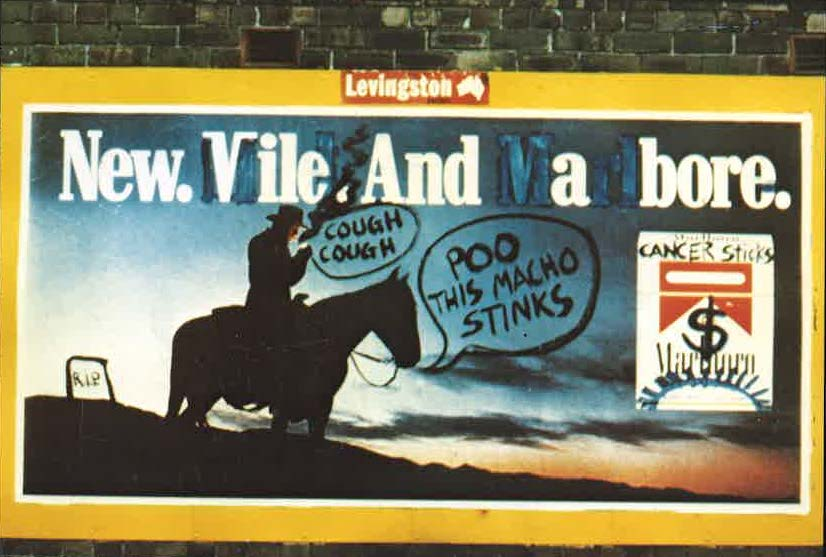 1981 - BUGA-Up - Defaced Billboards - New Vile and a Bore