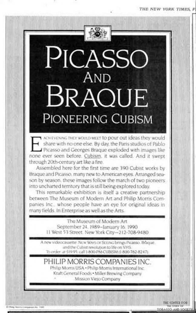 1984 - Philip Morris Companies - Picasso and Braque - Pioneering Cubism
