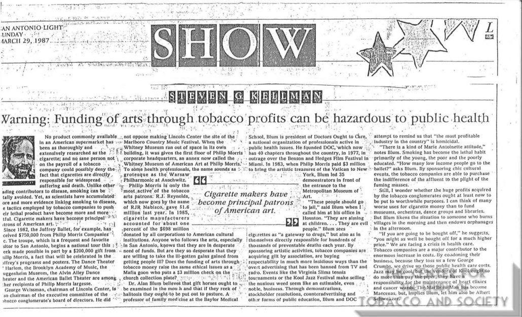 1987 - Commentary on Tobacco Sponsorship of the Arts by Stephen Kellman, San Antonio Light