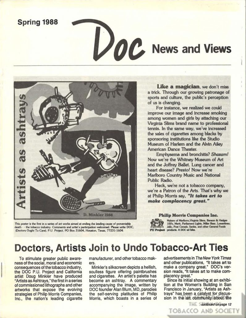1988 Doctors, artists join to un-do tobacco-art ties, DOC newsletter _Page_1