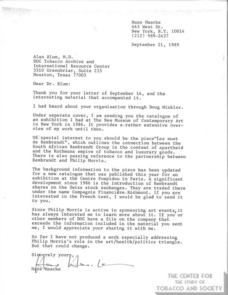 1989 - Artist Hans Haacke letter to AB - Times article on his artwork Helmsboro