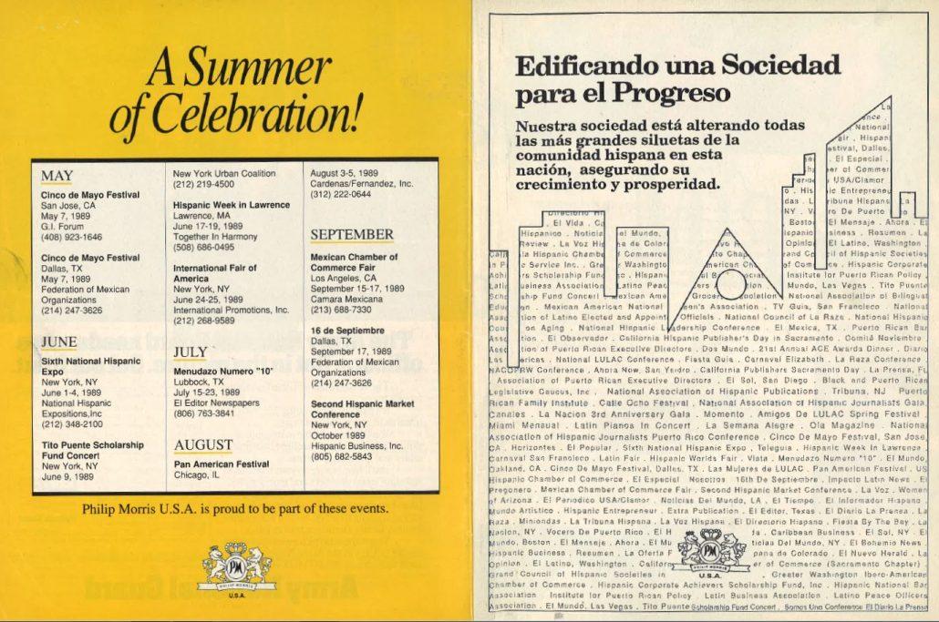 1990-05 - HISPANIC Magazine - Philip Morris - Hispanic Cultural Calendar and Company (Inside)