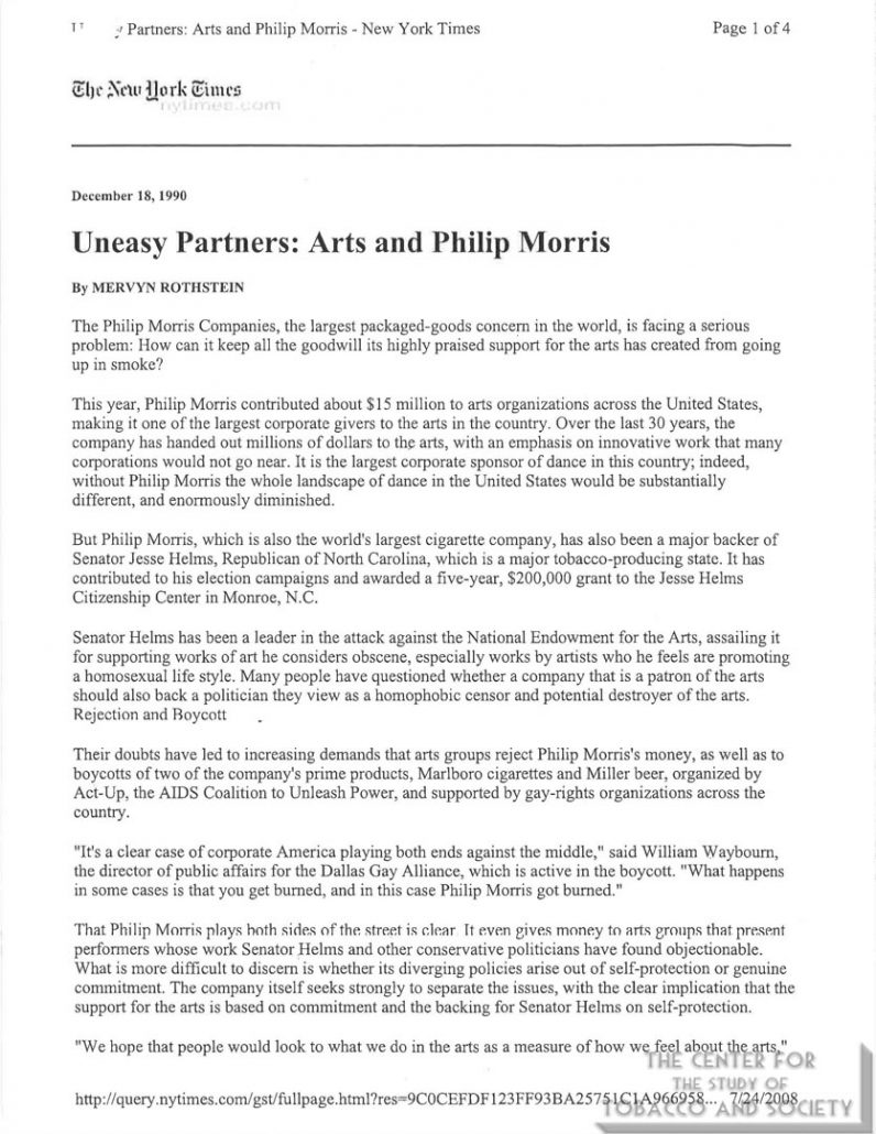 1990-12-18 - New York Times -Uneasy Partners Arts and Philip Morris
