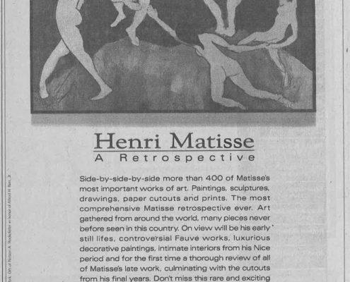 1992-1993 - New York Times - Philip Morris - Museum of Modern Art - Henri Matisse A Retrospective
