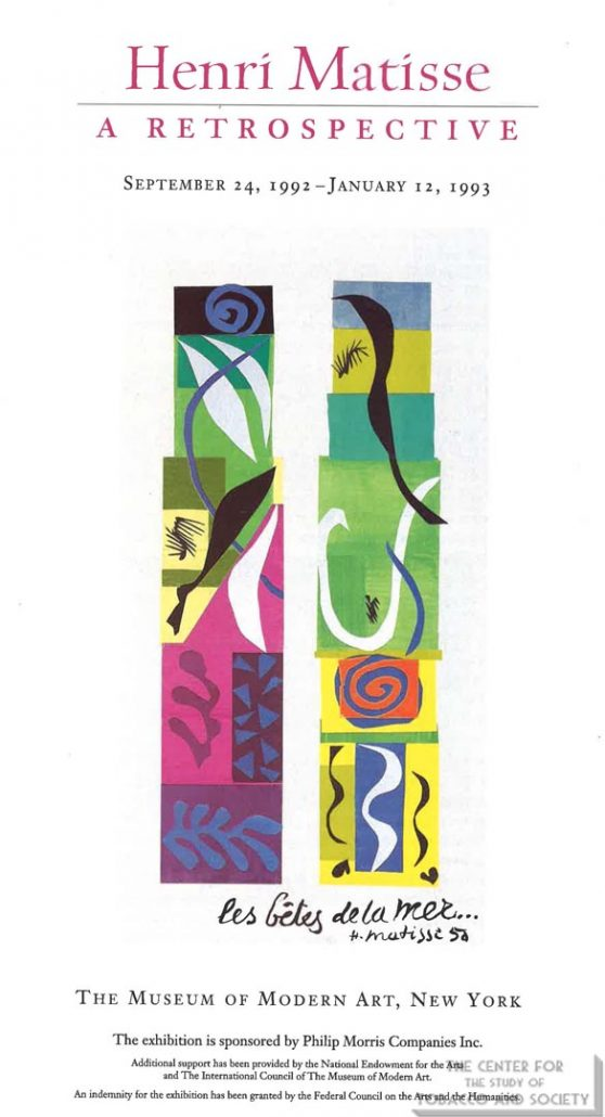1992-1993 - The Museum of Modern Art - New York - Philip Morris - Henri Matisse-A Retrospective