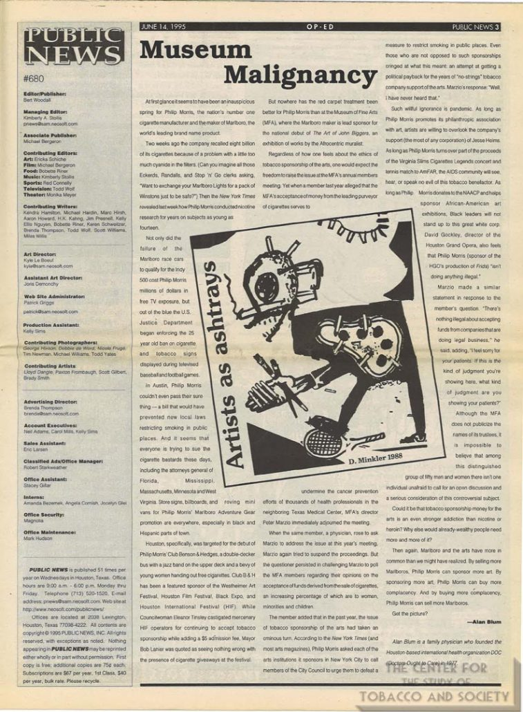 1995-06-14 - Public News - Editorial Museum Malignancy - Alan Blum