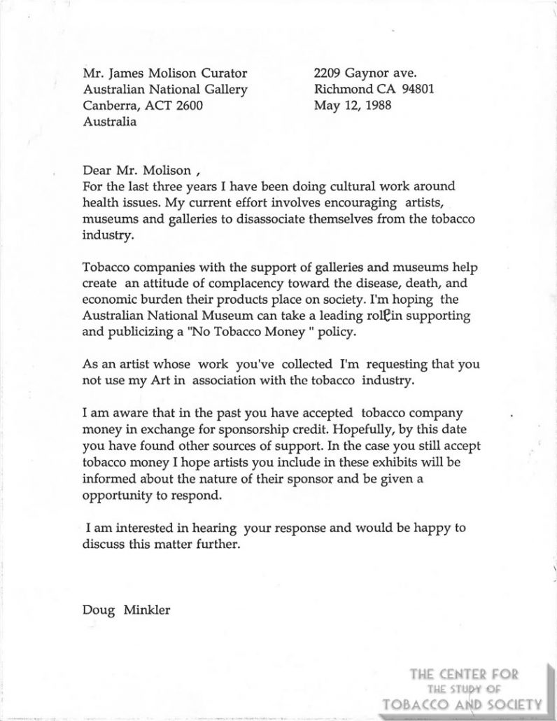 1998-05-12 - Letter form Artist Doug Minkler to Director of Australian National Gallery on tobacco sponsorship of the arts