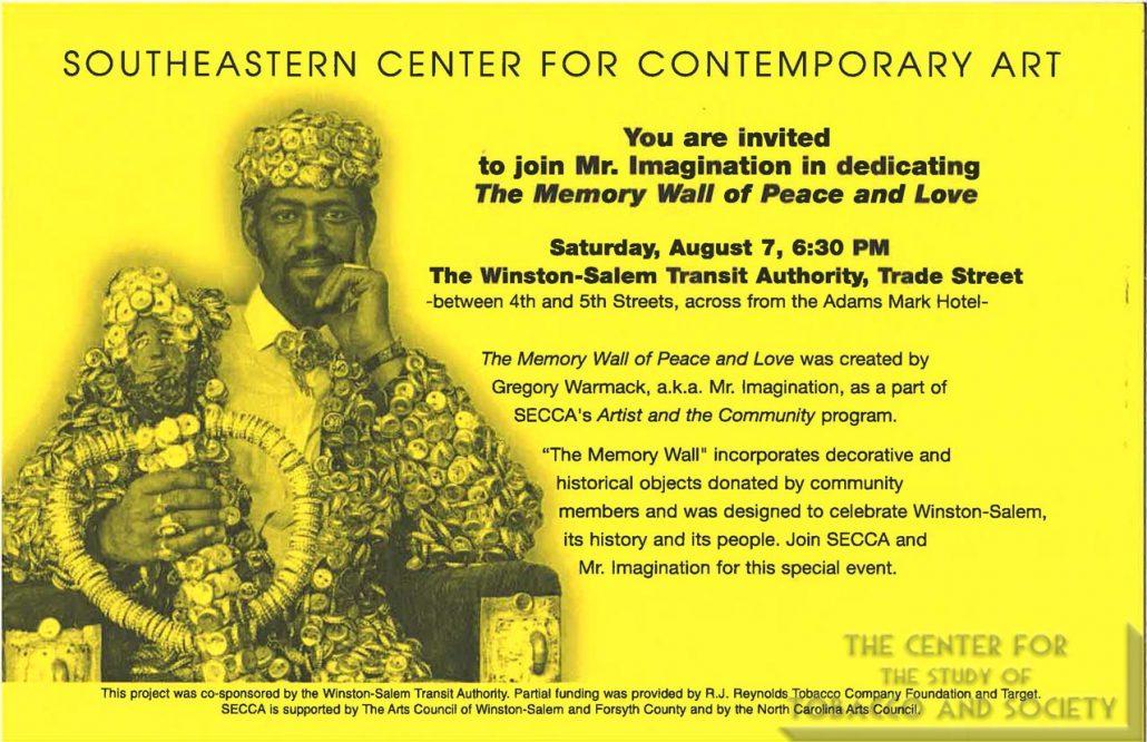1999 - Southeastern Center for Contemporary Art, Winston-Salem, NC - Mr. Imagination Promotion Cards