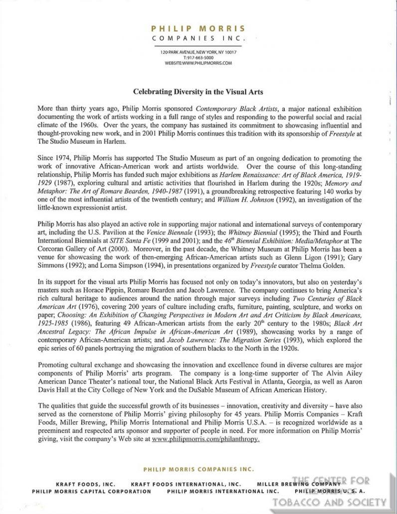 2001 - Philip Morris - Celebrating Diversity in the Visual Arts Media Release