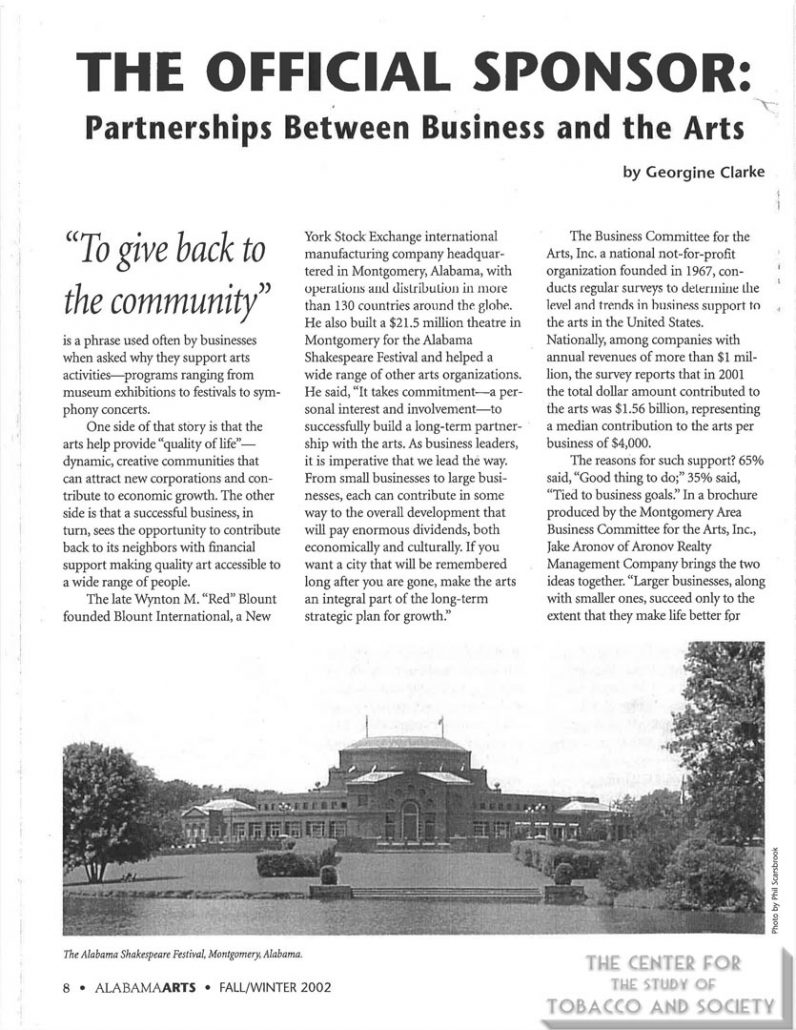2002 - Alabama Arts Today - The Official Sponsor Partnerships Between Business and the Arts