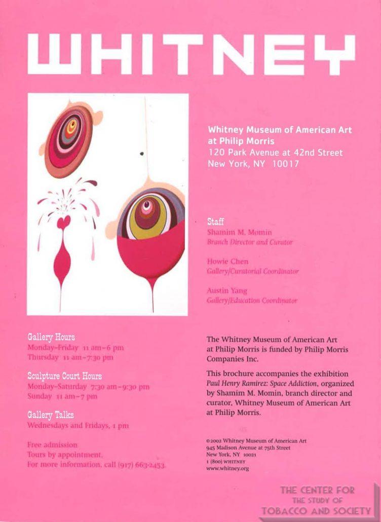 2002 - Whitney Museum of American Art at Philip Morris - Whitney Brochure