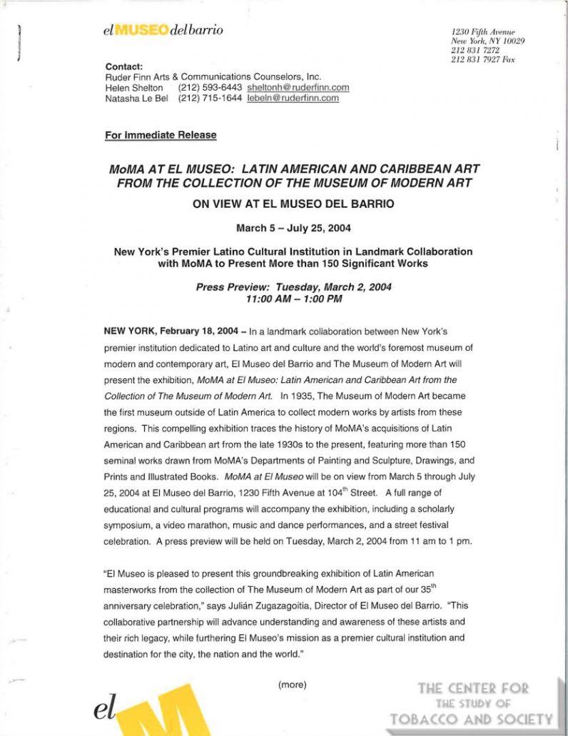 2004-02-18- El Museo del Barrio - Press Release - NY's Premiere Latino Cultural Institution
