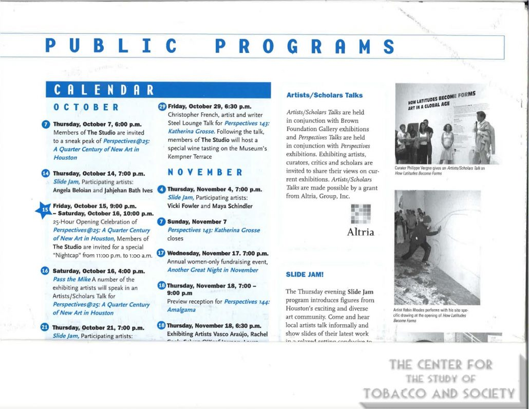2005-10 - Altria - Contemporary Arts Museum Houston - Public Programs