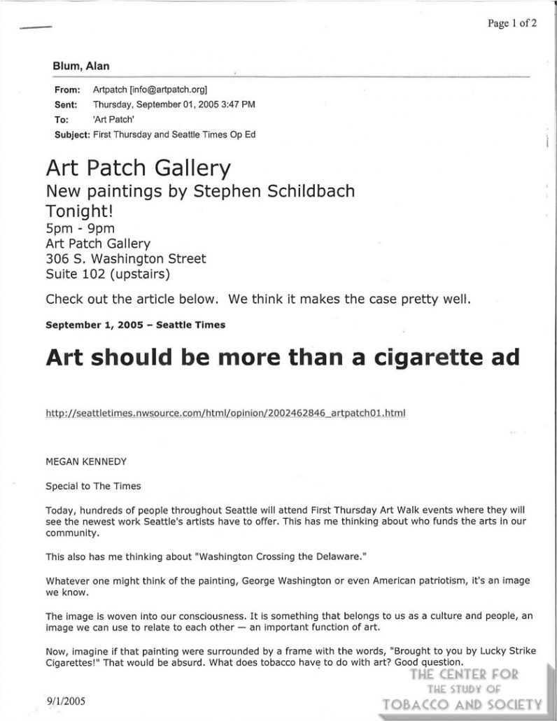 2005-2006 - Art Patch, Seattle, Washington, effort to replace tobacco sponsorship of the arts