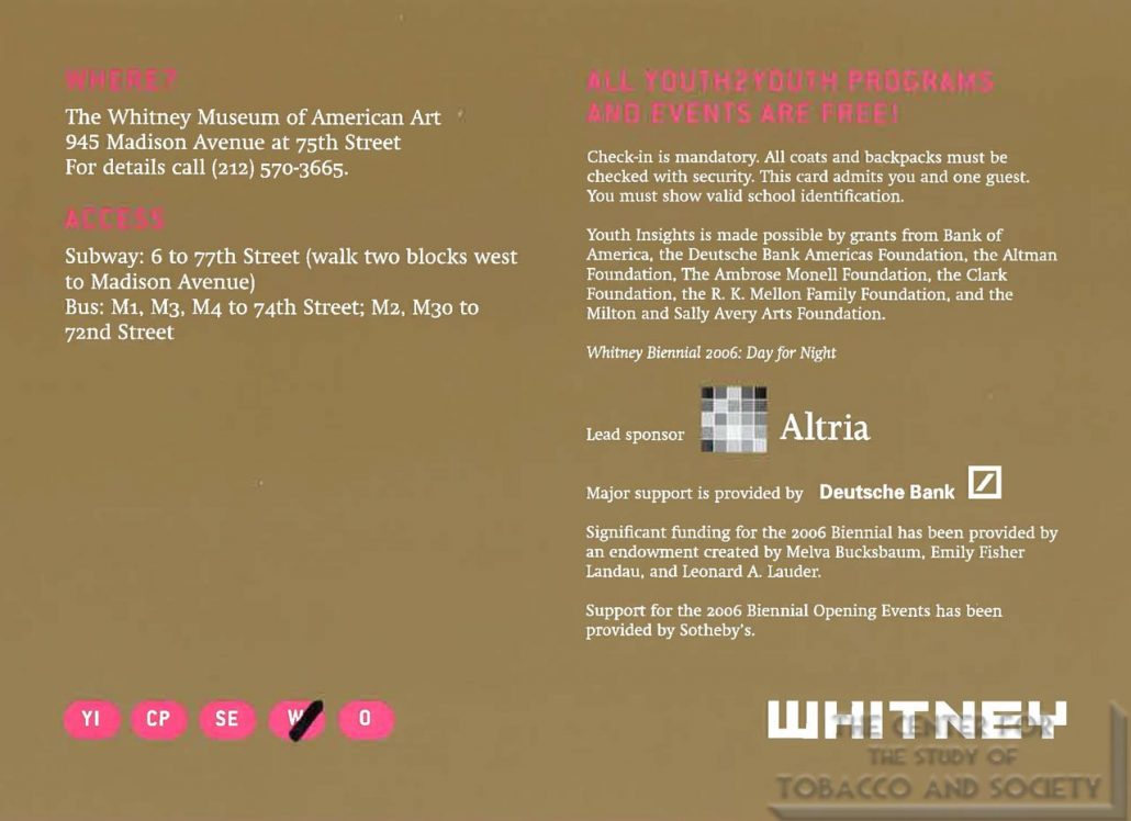 2006 - Altria - Whitney Museum of American Art - Promotional Card Youth 2 Youth Programs for Teens