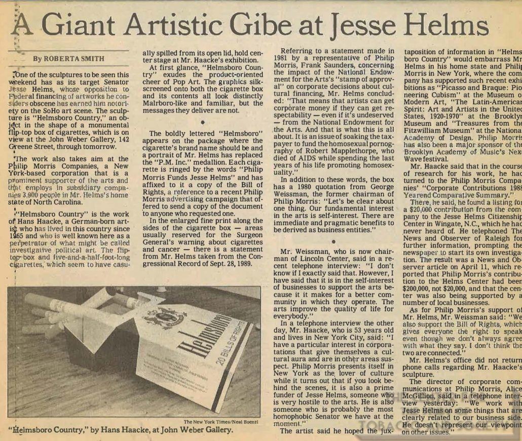 n.d. - New York Times - A Giant Artistic Gibe at Jesse Helms
