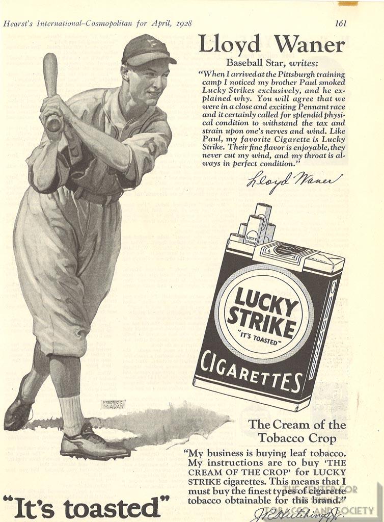 1928-04 - Advertisement -Hearts's International-Cosmopolitan - Lusky Strike - Lloyd Warner