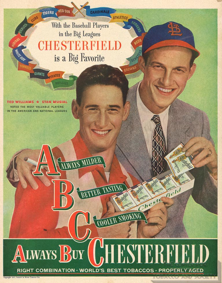 1947 - Chesterfield - Liggett and Meyers - Ted Williams and Stan Musial