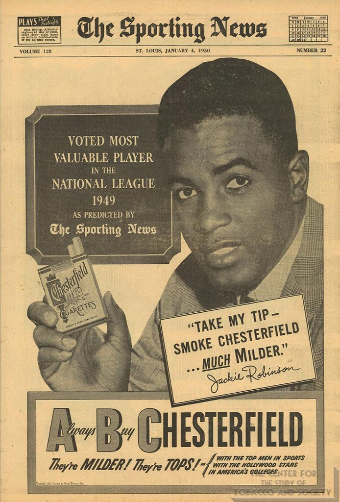 1950-01-04- Sporting News - Jackie Robinson for Chesterfield