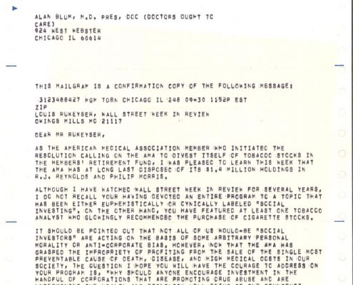 1981-09-30- AB to Louis Rukeyser - AMA Divestment of Tobacco Stocks