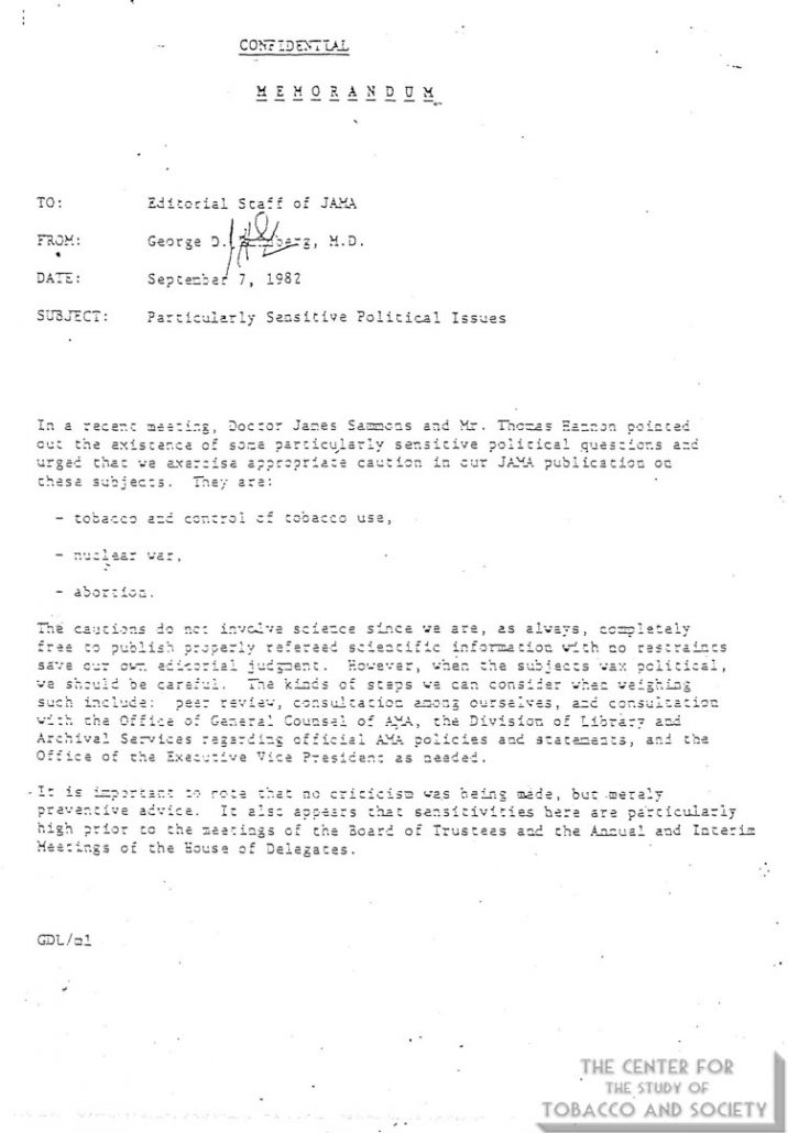1982-09-07- George Lundberg to JAMA Editorial Staff - Sensitive Political Issues