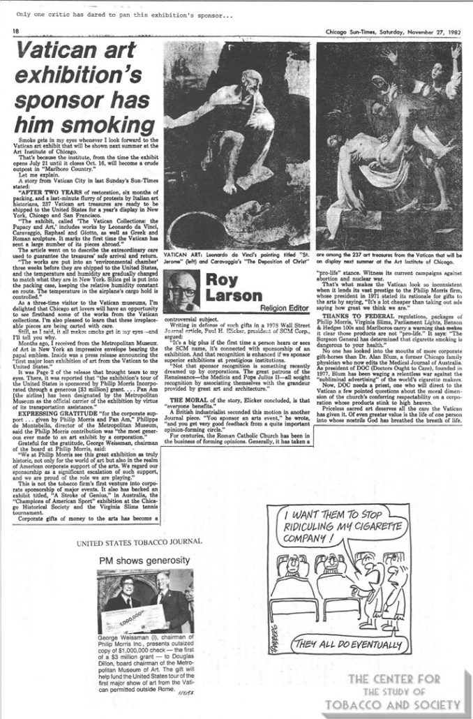 1982-11-27 - Chicago Sun Times - Roy Larson - Vatican Art Exhibition's Sponsor Has Him Smoking