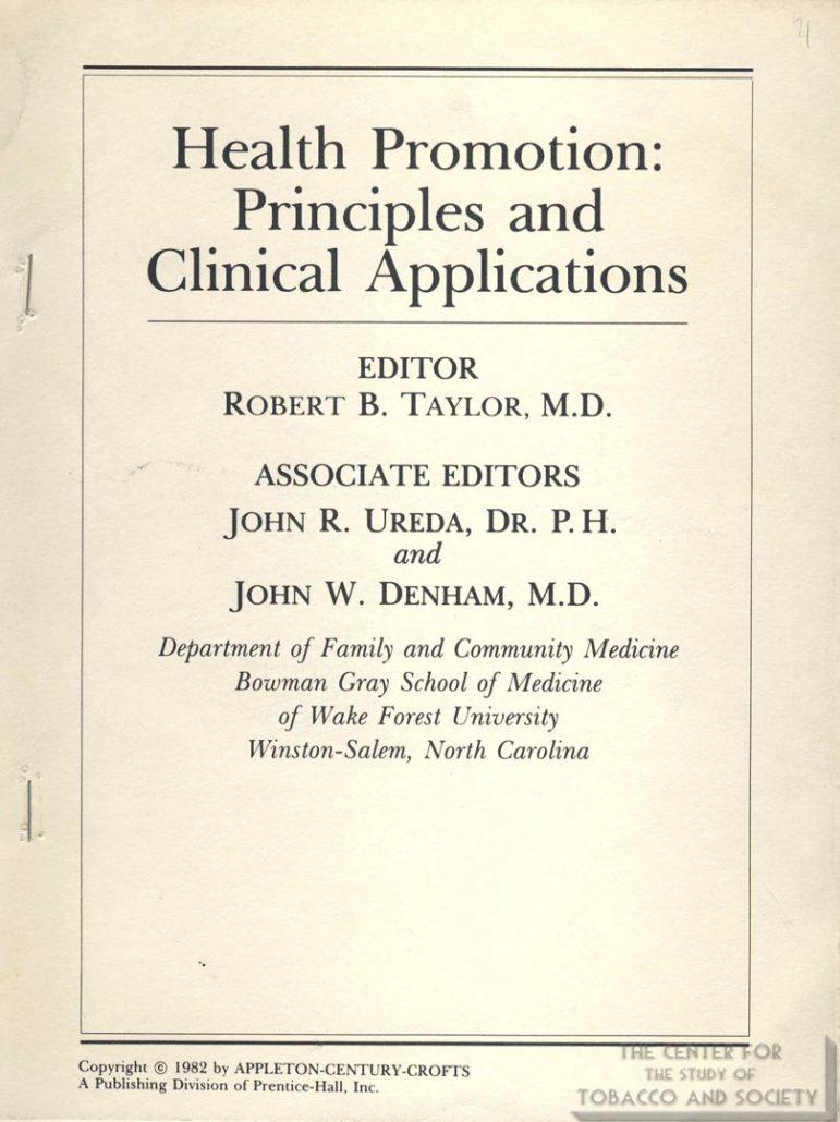 1982- Health Promotion - Medical Activism
