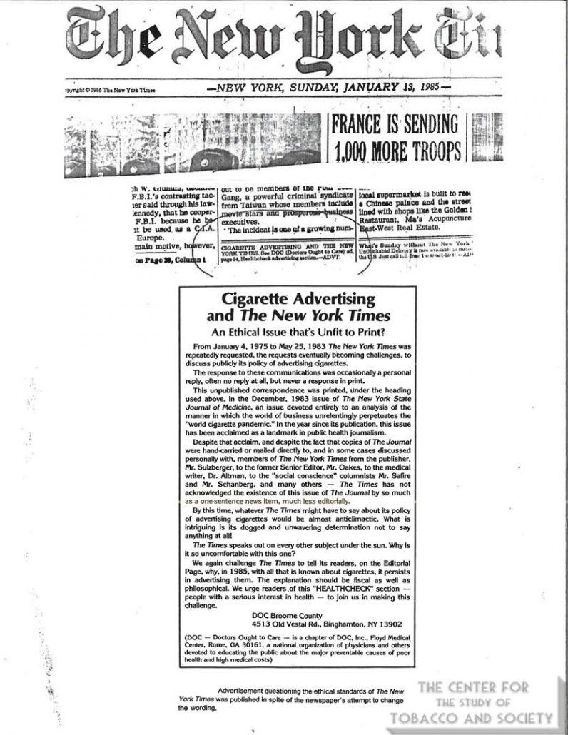 1985-01-13- NY Times - Cig Advertising & NY Times (DOC Ad)