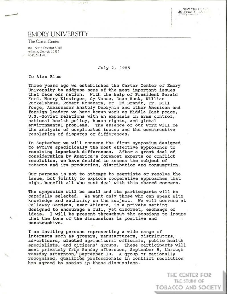1985- Jimmy Carter Center Symposium on Tobacco
