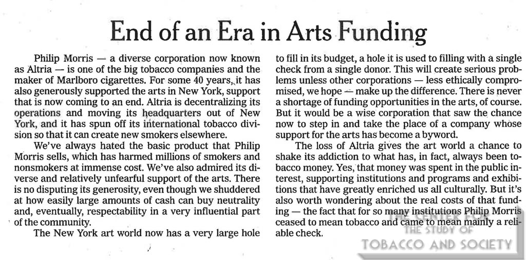 2007-10-09 - The New York Times - Editorial - End of an Era in Arts Funding