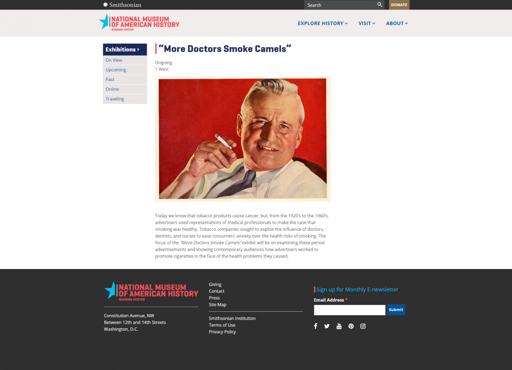 2019-06-27 - Smithsonian National Museum of American History - More Doctors Smoke Camels