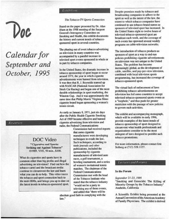 25. 1995- Sept & Oct Calendar of Events