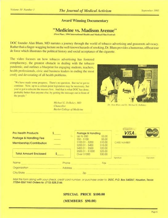 27. 1995-09- 'Med vs Madison Ave' Video Order Form