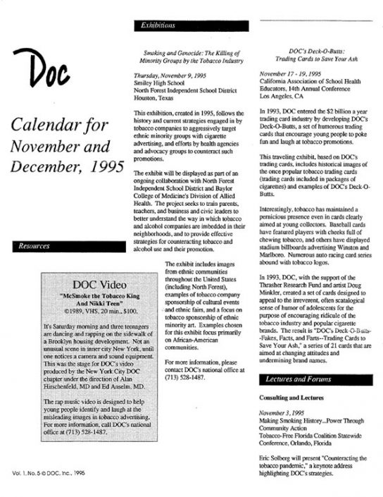 28. 1995- Nov & Dec Calendar of Events