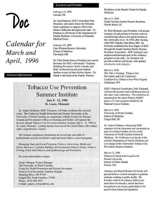 29. 1996- March & April Calendar of Events