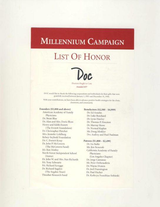 36. 1997- DOC Millennium Campaign List of Honor
