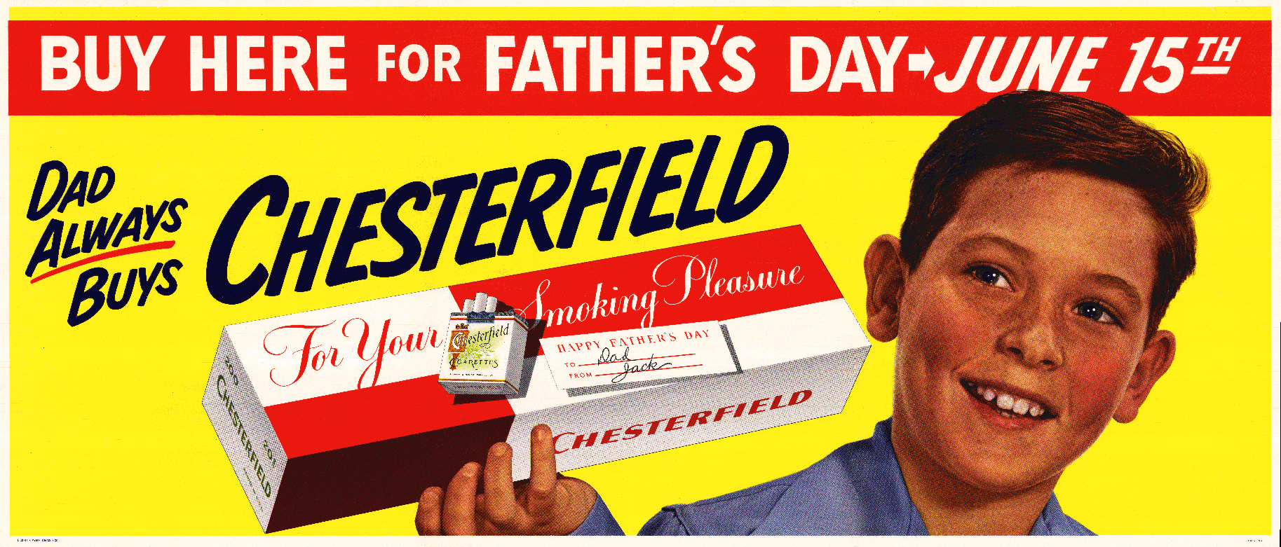 Circa 1950s Chesterfield Ad Buy Here For Fathers Day June 15th - Dad Always Buys Chesterfield