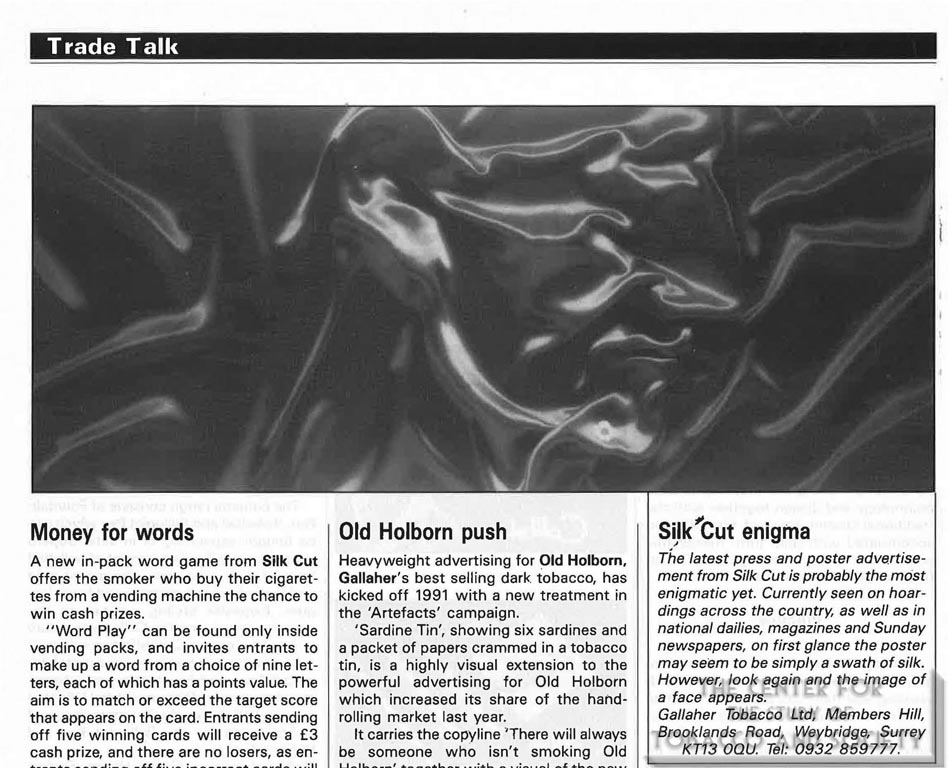 Silk Cut Enigma - Trade Talk - Tobacco - April 1991