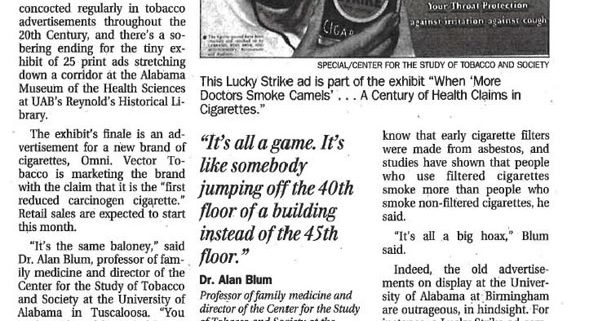 When more doctors smoked Camels exhibition stories Huntsville Birmingham UAB13