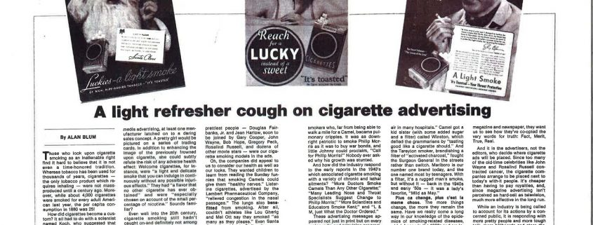 n.d. - FOCUS on Alcohol and Drug Issues - Alan Blum - A Light Refresher Cough on Cigarette Advertising