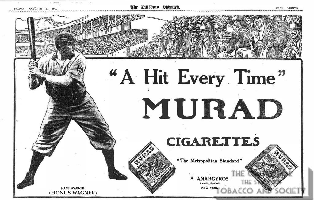A Hit Every Time - Murad Adevrtisement - Honus Wagner - Anagyros - Pittsburgh Dispatch - 10-08-1908