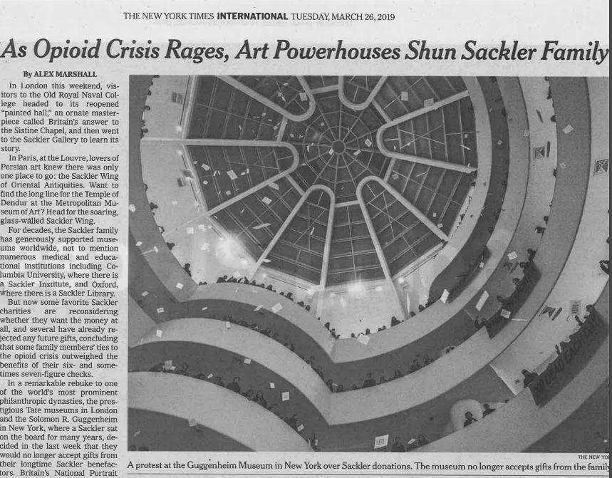 Art Powerhouses Shun Sackler Family New York Times, March 26, 2019