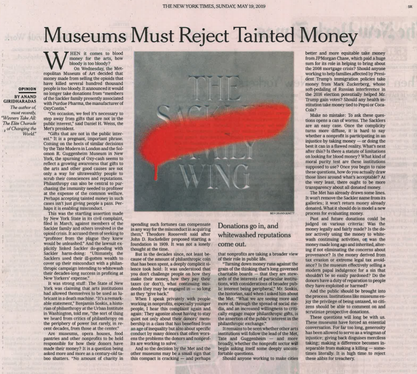 Museums Must Reject Tainted Money New York Times May 19, 2019