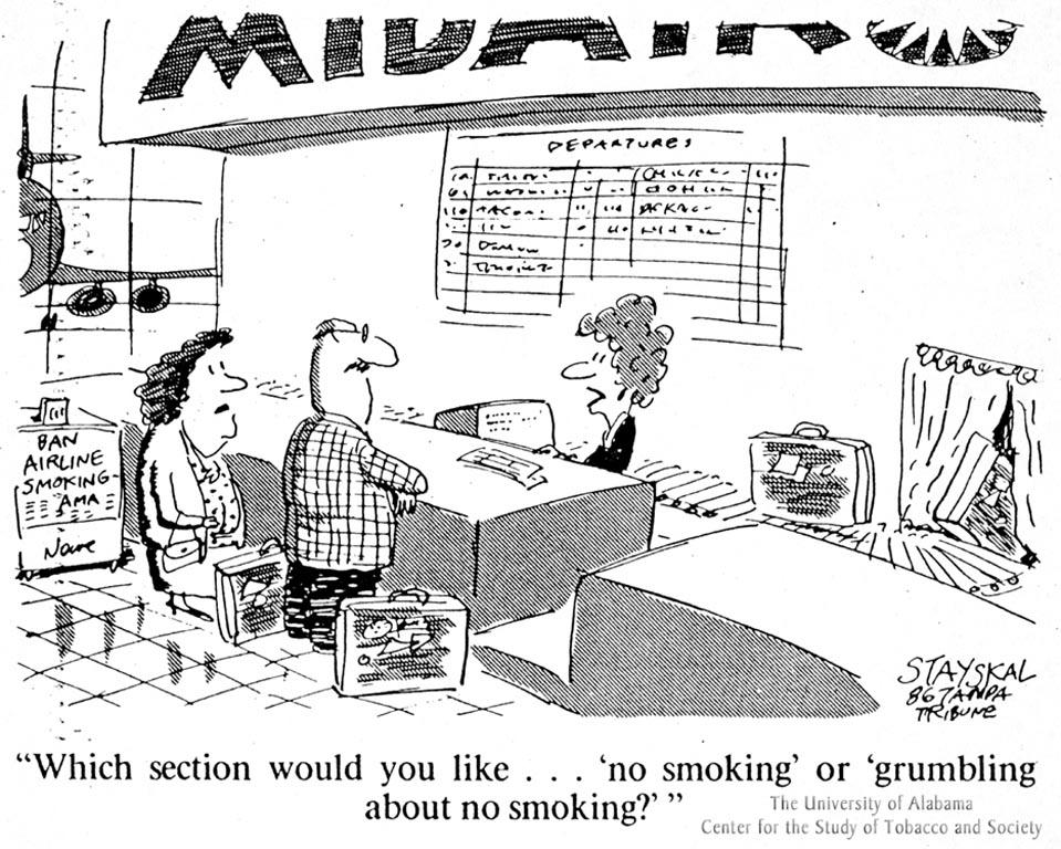 Stayskal Cartoon - No Smoking & Grumbling Section