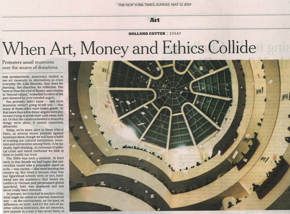 When Art, Money and Ethics Collide New York Times May 12, 2019
