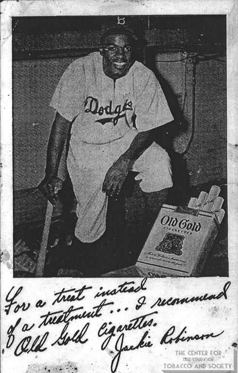 1948 - Advertisement - Old Gold - For a Treat Instead of a Treatment - Jackie Robinson